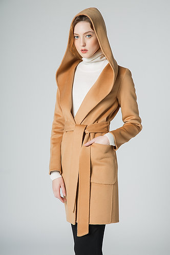 100%Cashmere Wool Classic Coat with Hood