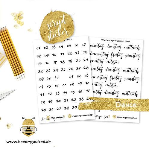 Zahlen & Tage | Typ: Dance | Script Sticker