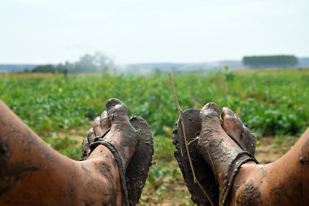 Špinavé barefoot sandály lze snadno omýt, pročež jsem je s radostí nosila i v blátě.
