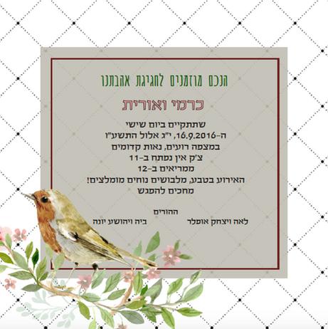 הזמנה לחתונה | אורית וכרמי