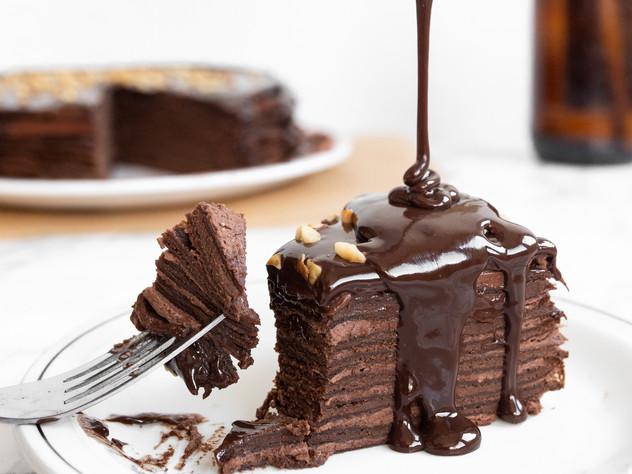 Decadent Gluten Free Triple Chocolate Crepe Cake