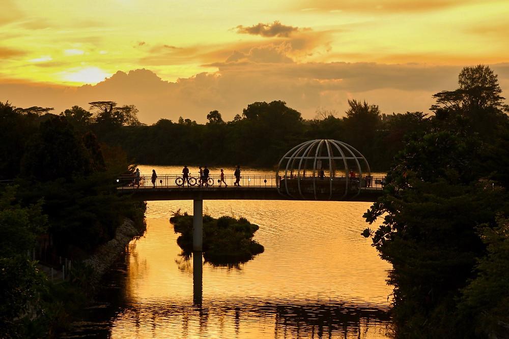 Jewel Bridge in Punggol, Singapore at sunset.