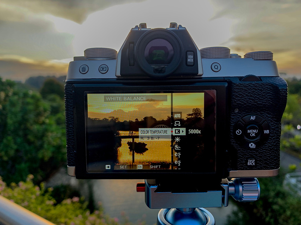White balance setting on camera using K-temperature.