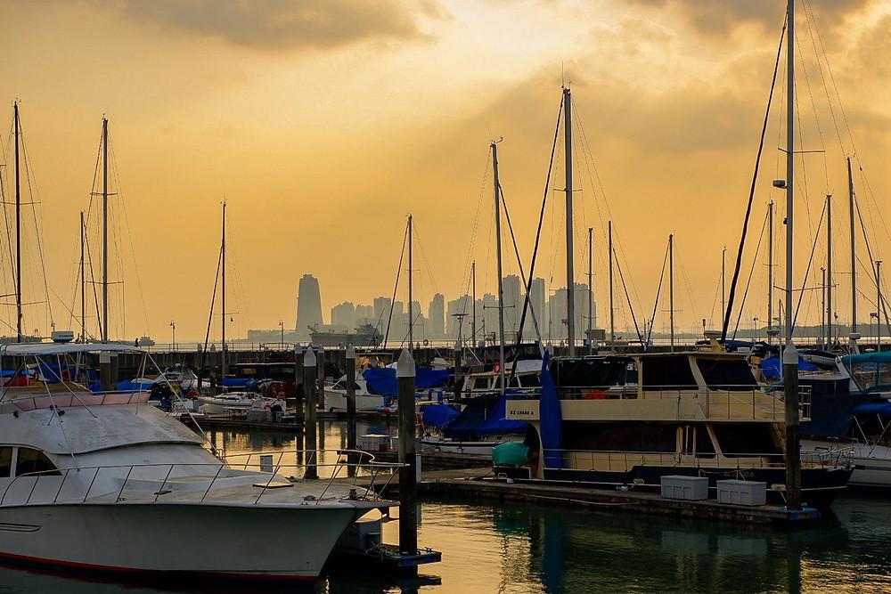 Sunset at the Raffles Marina, Singapore.