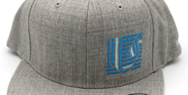 Cap, Heather Grey Flat Bill (Blue Logo)