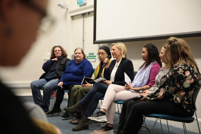 From left to right: Sarah, Christine, Amina Senior, Abigail Scott Paul, Amina Junior, Mary, Sally Ogden