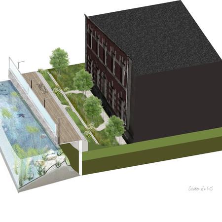 Ellis Island Elevation 3D Rendering