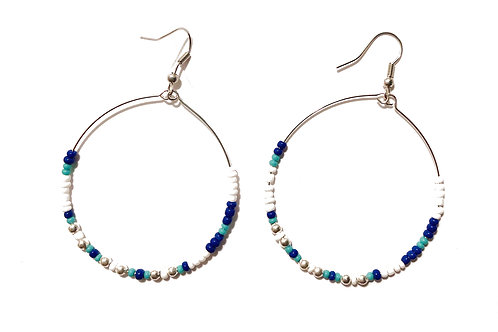 Silver Round Seed Bead Hoops