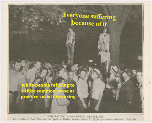 View of the lynching of Tom Shipp and Abe Smith at Marion, Indiana