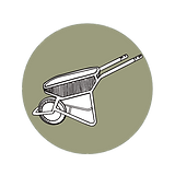Illustration of a wheelbarrow on a green backround