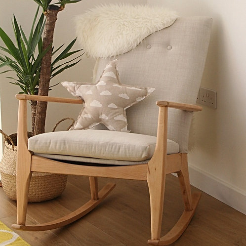 Remarkable Vintage Restored Parker Knoll Rocking Chair In Ivory Wool Machost Co Dining Chair Design Ideas Machostcouk