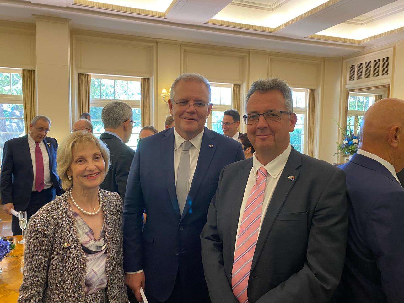 AICC (NSW) President- Jillian Segal AO, Australian Prime Minister The Hon Scott Morrison MP & IACC, ED- Paul Israel