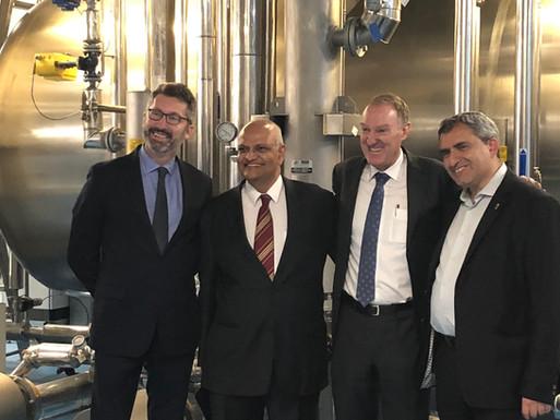 Ambassador Cannan, Aegros- Chairman- Dr Hari Nair & MD- John Manusu & Minister Zeev Elkin MK