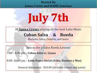 Latin Dance Social Saturday July 7th
