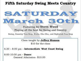 Swing Meets Country Dance Mar 30 - 6:30 pm Intermediate West Coast Swing class with Jeffrey Munson
