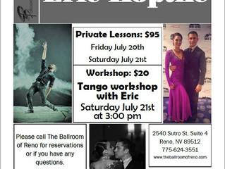 Tango Workshop with Eric Koptke July 21st, Privates July 20th & 21st