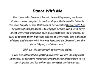 Dance With Me - early onset dementia program