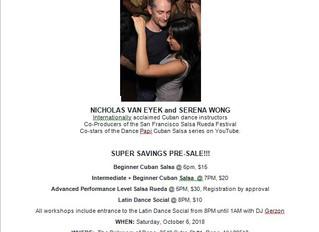 DAME Sonrisas Fundraiser - Salsa Workshops and Latin Dance Social October 6th