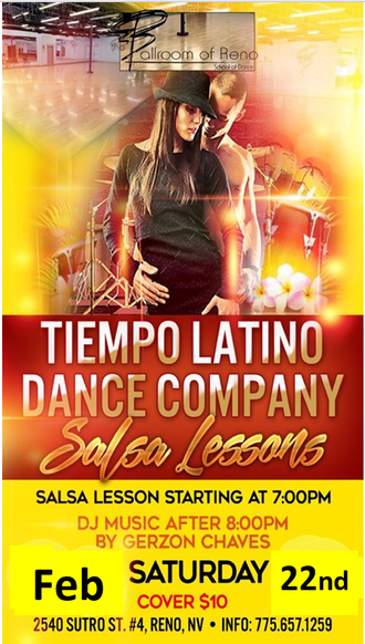 ***CANCELLED***** Tiempo Latino Salsa Lessons and DJ with Gerzon, Saturday Feb 22nd