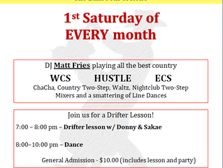 First Saturday Country Dance Mar 3rd