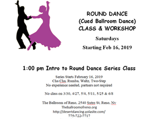 Round Dance (cued Ballroom Dance) Series class 8-10 weeks starts Feb 16th