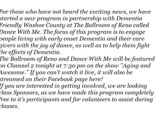 Dance With Me - TV feature and Sponsors