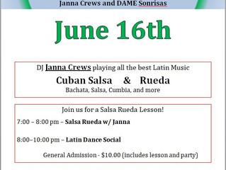Latin Dance Social Saturday June 16th