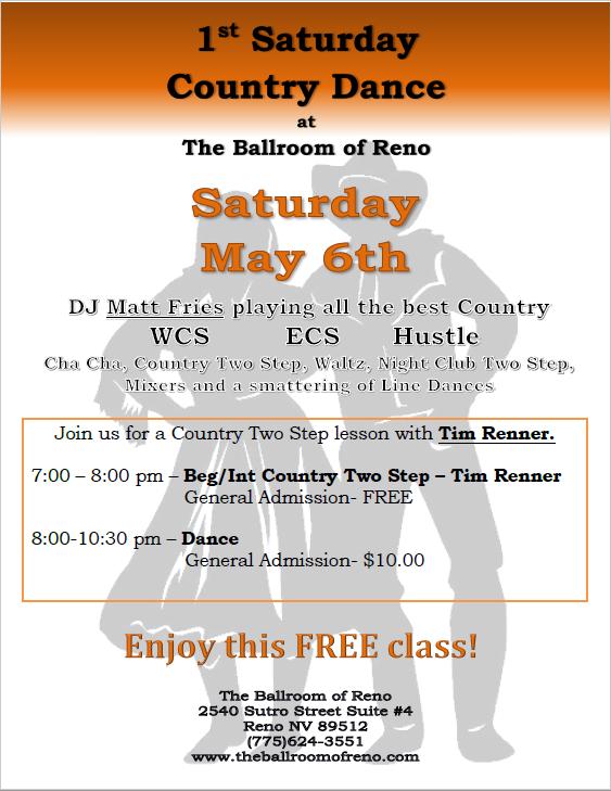 Ballroom of Reno May 6 Country Dance