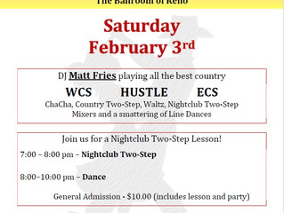 First Saturday Country Dance Feb 3rd