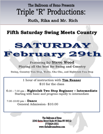 Swing Meets Country Dance, Saturday February 29th - Nightclub Two-Step class with Tim Renner