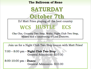 1st Saturday Country Dance October 7th