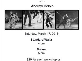 Standard Waltz and Bolero Workshops March 17th