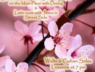 Saturday April 6th:  Two classes, Two dance parties, Waltz & Cuba Salsa lessons followed by Ball