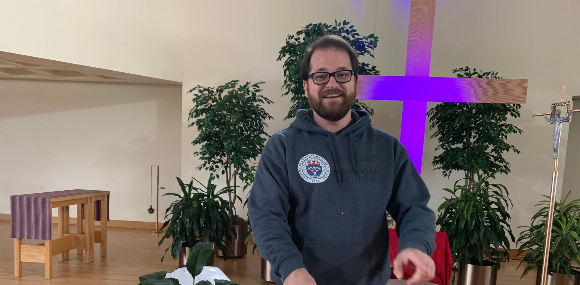 Fr. Chris ironing ;)