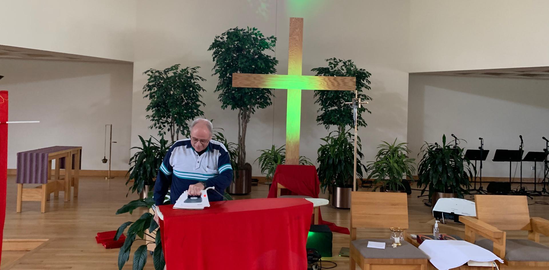 Fr. Joe ironing ;)