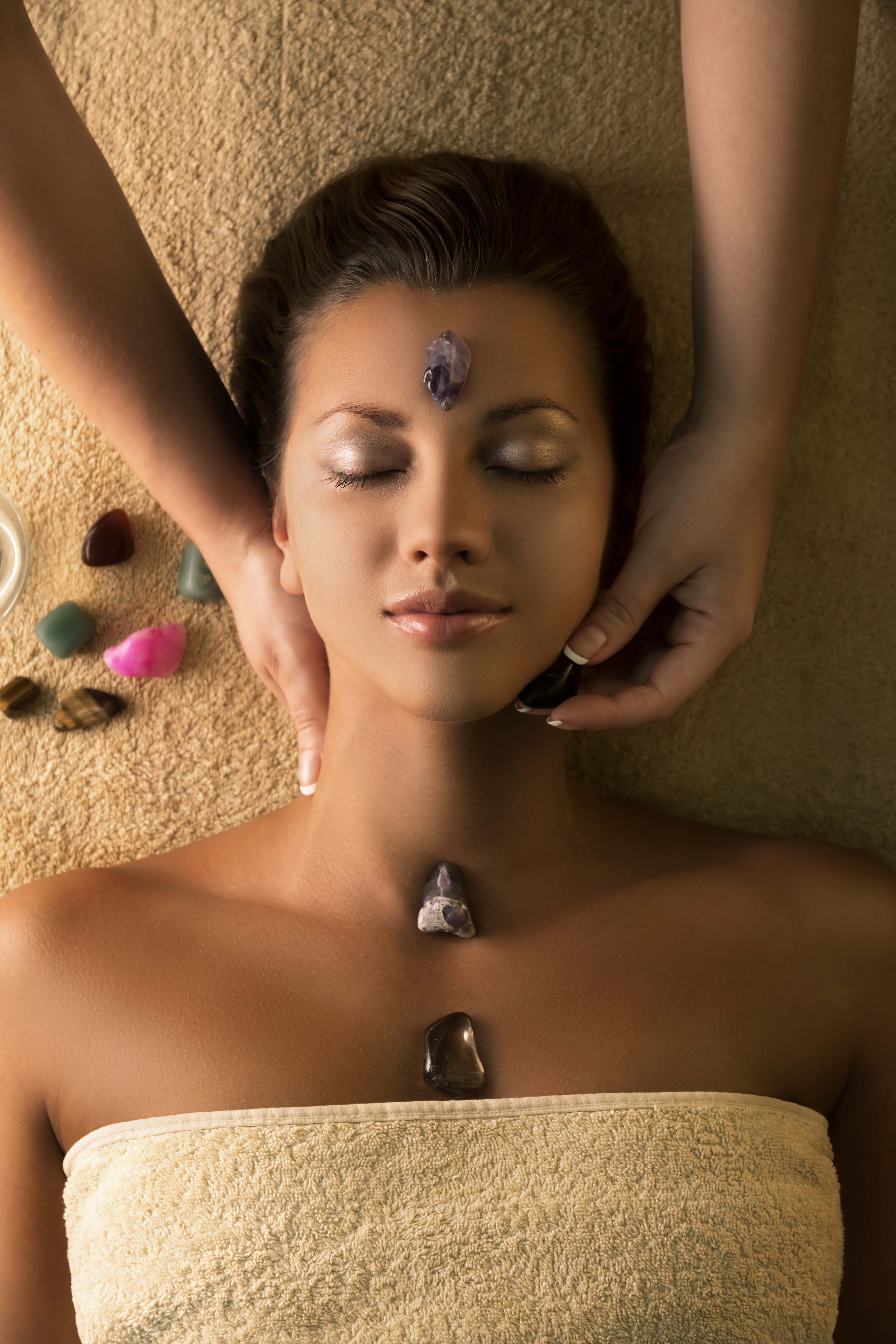 Massage with special chakra-stones