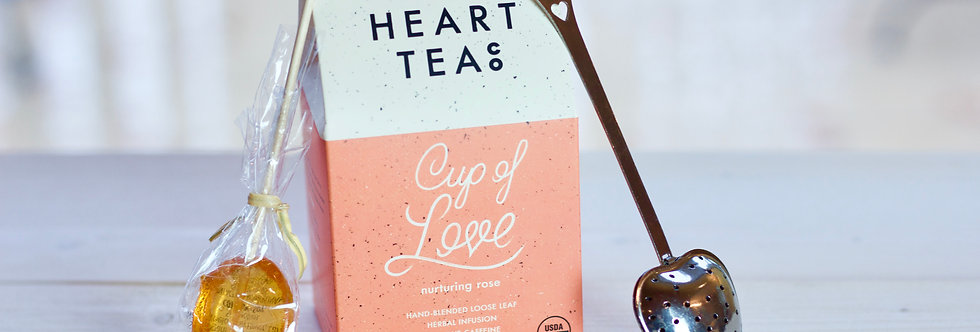 Big Heart Teas (Loose Leaf) with Honey Spoon and Heart Infuser