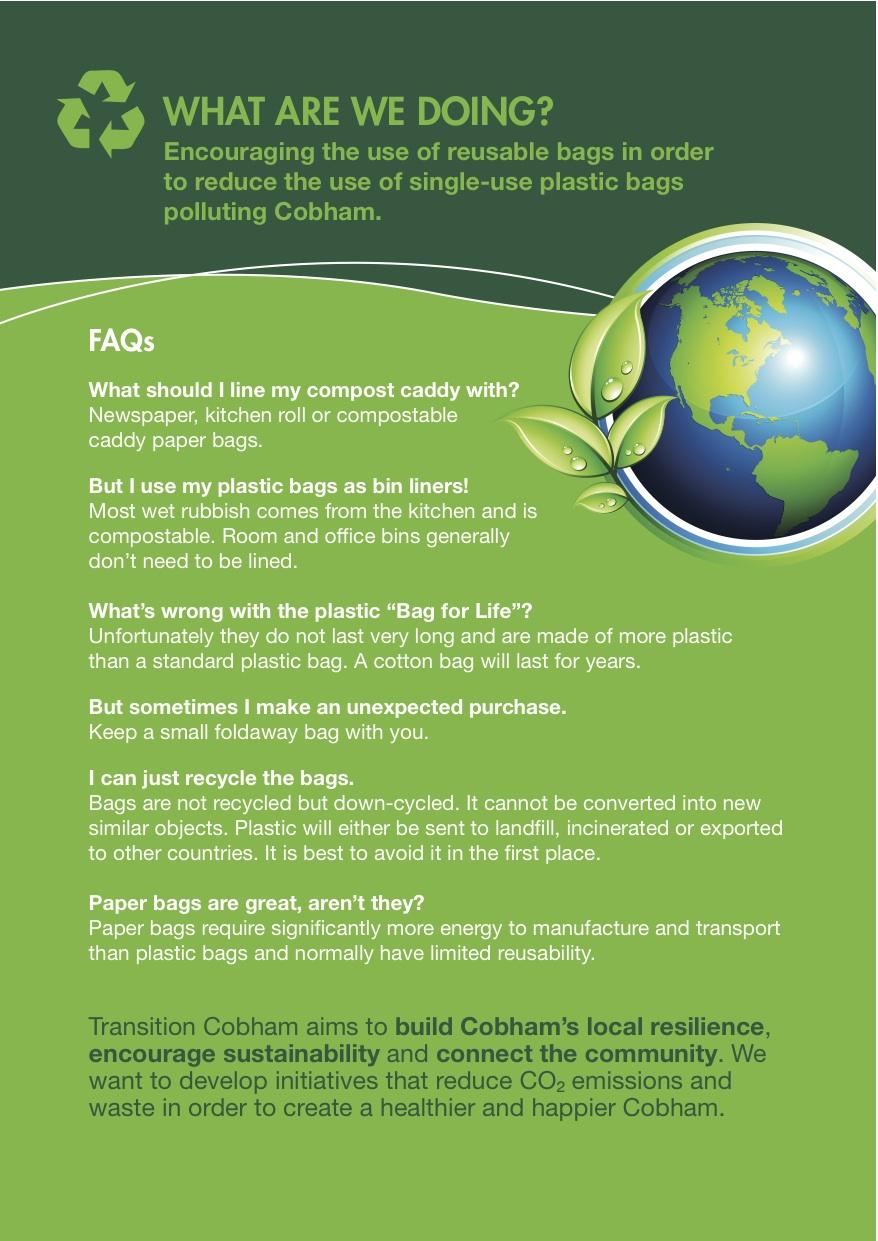 Reuse Your Bags leaflet - back