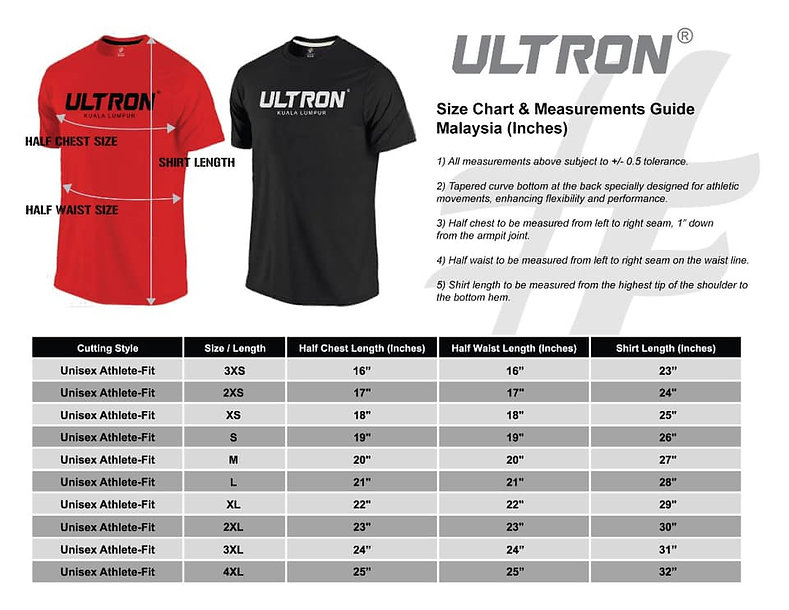 Ultron T-Shirt Size Chart & Measurements Guide