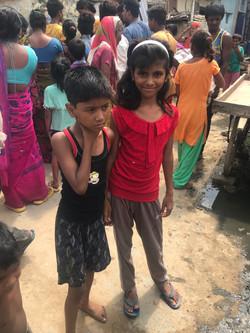Sriniwaspuri slum district in India