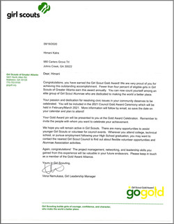 Himani Kalra Gold Award Letter