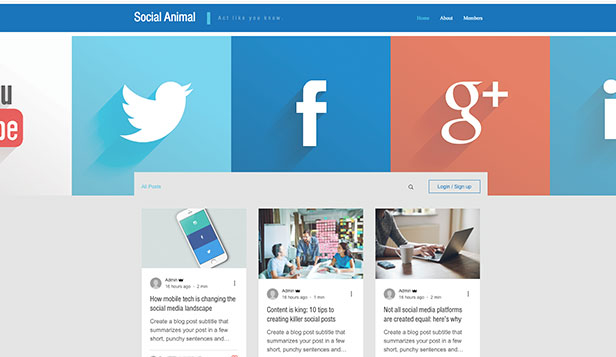 Ondernemen en marketing website templates – Blog over sociale media