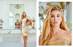 Bianca de la Garza looking absolutely royal wearing all gold.  She models a gold dress with a gold jacket for New Face Magazine - photography by Los Angeles photographer Patrick Patton.