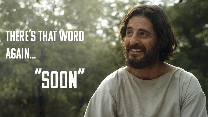 The Chosen meme there's that word again... soon.  Jesus laughing and smiling played by Jonathan Roumie.