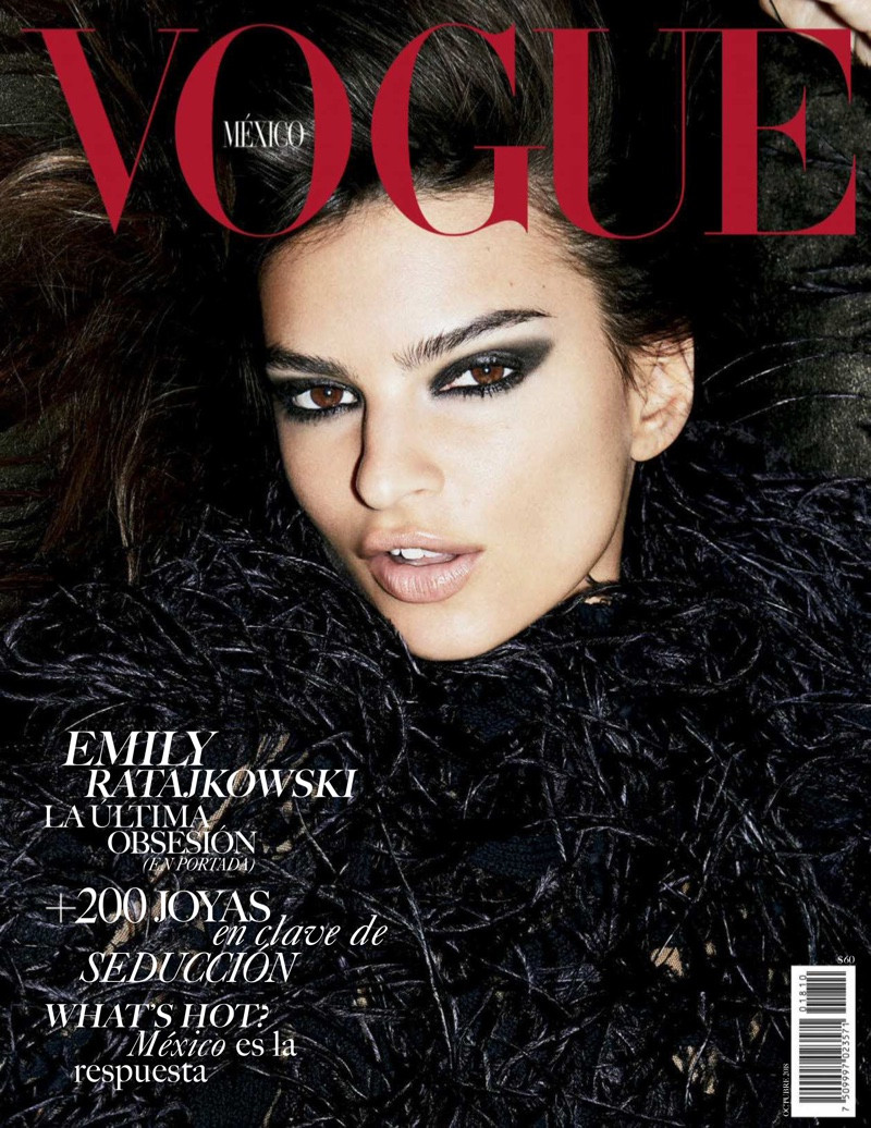 Emily Ratajkowski dresses in all black for the October 2018 covers of Vogue Mexico.
