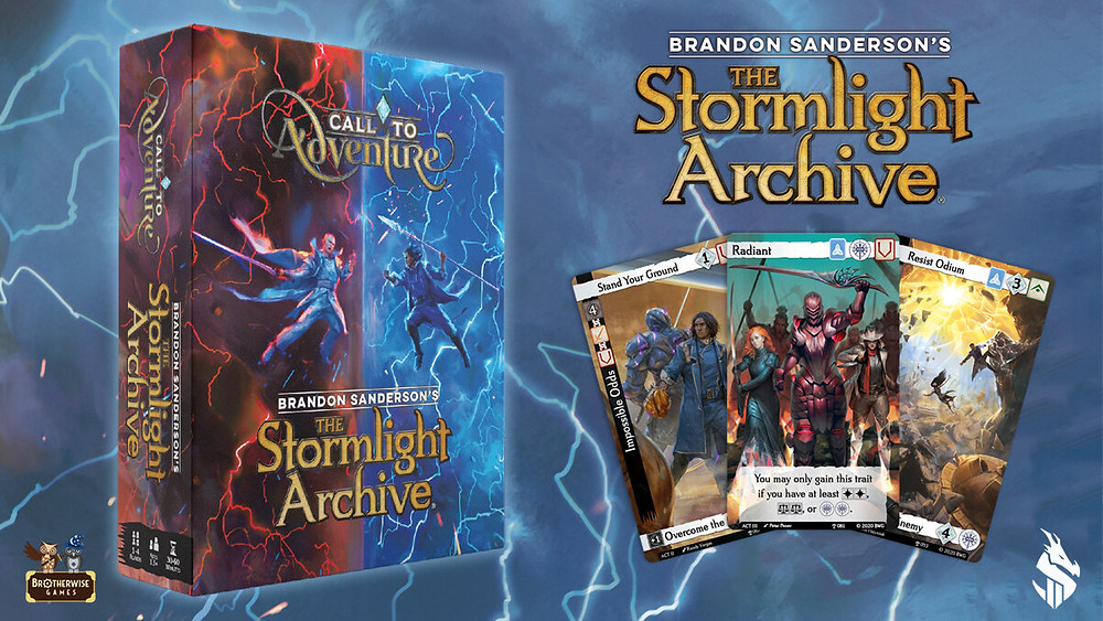 Call to adventure the stormlight archives expansion set by Brandon Sanderson.