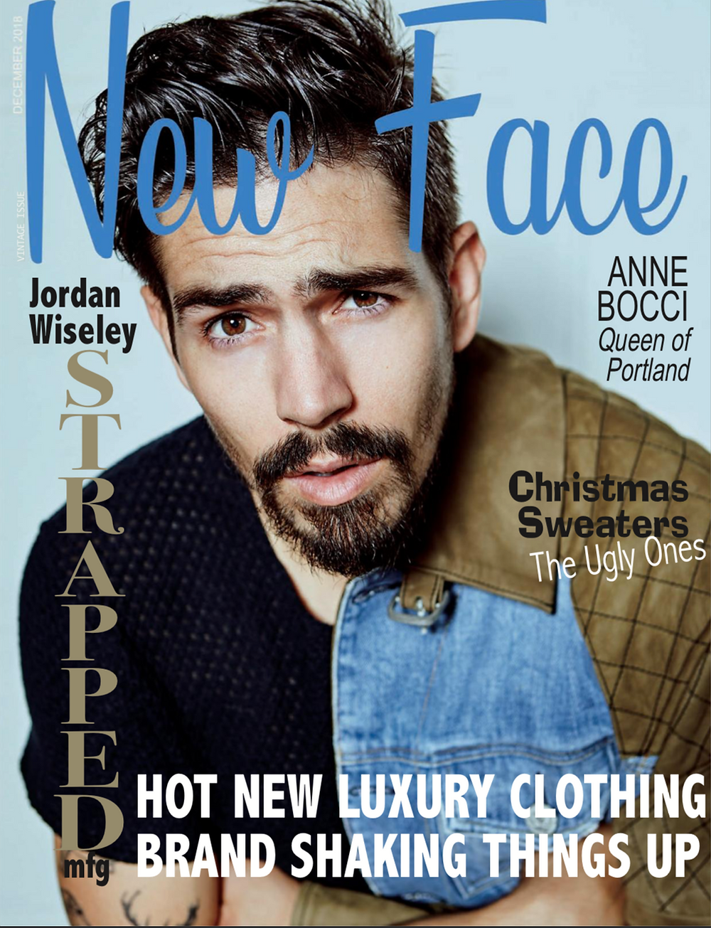 Model Jordan Wiseley of Strapped Manufacturing on the cover of New Face Fashion Magazine