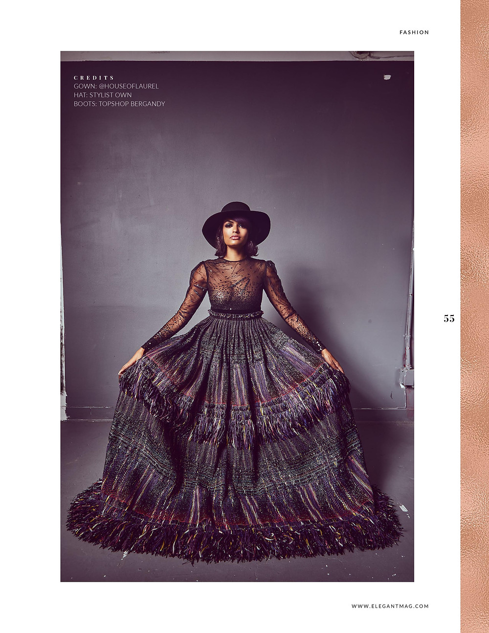 Fashion model Sianna Nelson for Elegant Magazine by Patrick Patton and wearing: Gown - Rajo Laurel @houseoflaurel Hat –stylist own Boots –TopShop bergandy