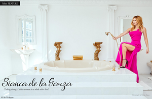 Bianca de la Garza showing some leg in a sexy hot pink dress on a bath tub for New Face Magazine photographed by Patrick Patton.