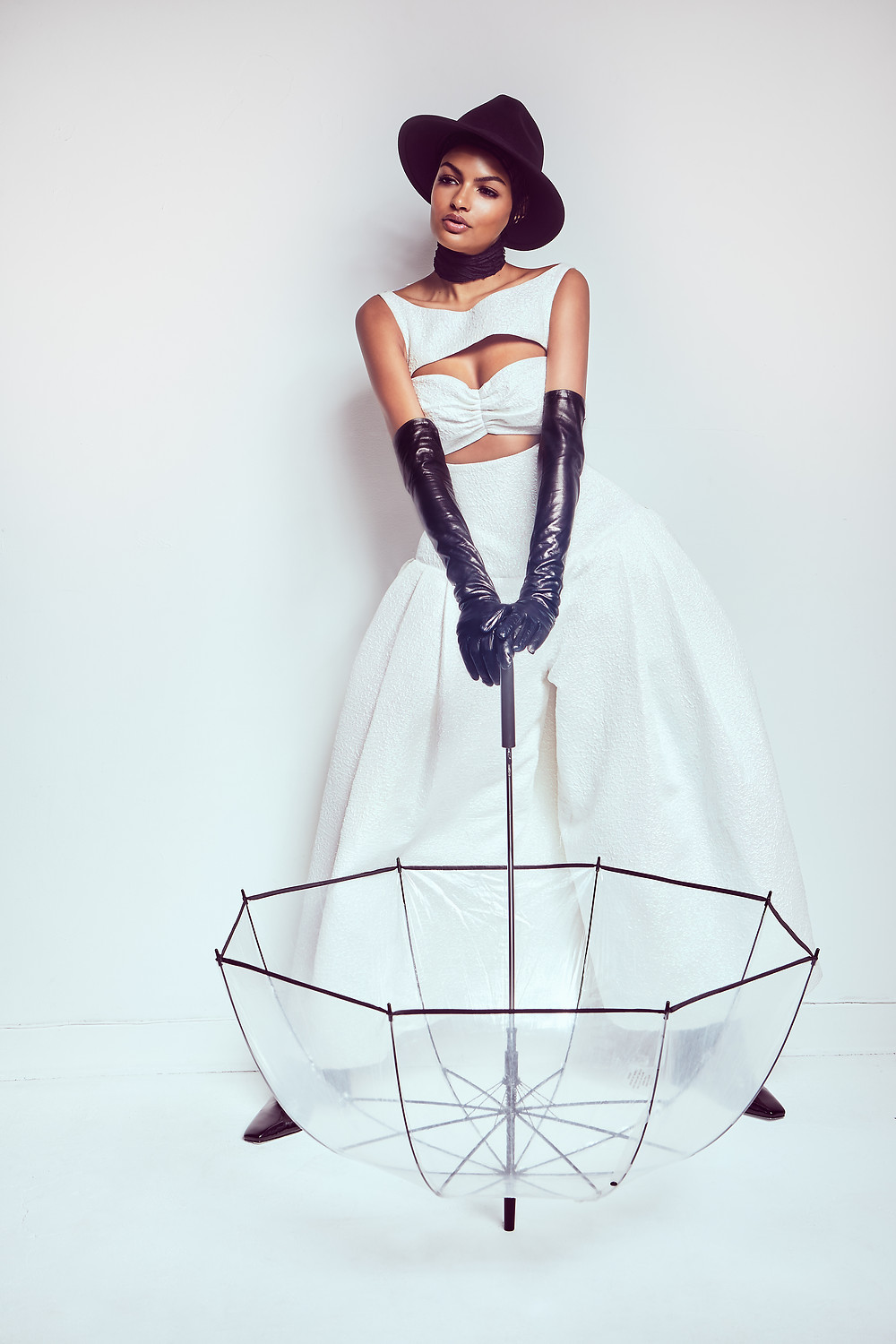 Model Sianna Nelson for Elegant Magazine shot by Patrick Patton, and wearing: Feather top – Rajo Laurel @houseoflaurel Tulle skirt – vintage Cuff Bracelet - Silvana Kegulian @silvanadesigns Boots -ZARA